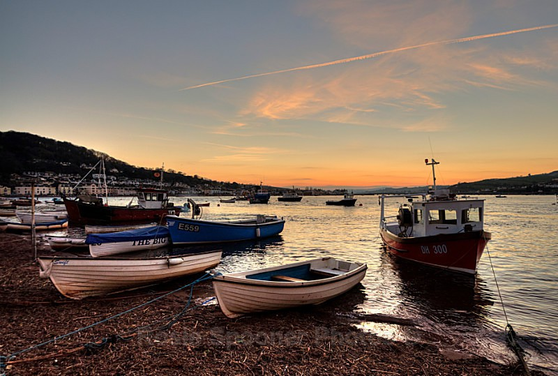 TS20 Sunset on Teignmouth Back Beach - Greetings Cards Teignmouth and Shaldon