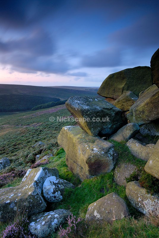 Dawn glow over the Burbage Valley from Higger Tor   Colourful Peak District Landscapes