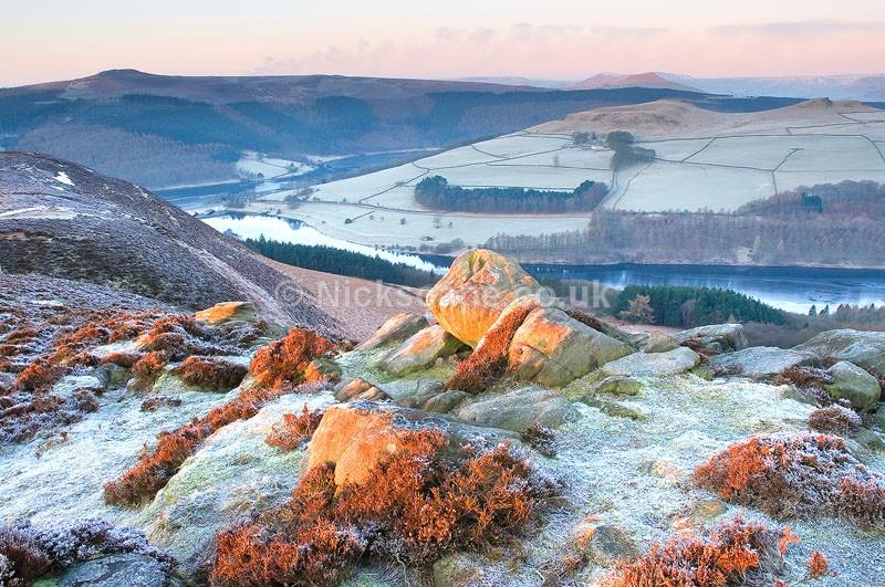 Dawn at Whinstone Lee Tor overlooking Ladybower   Peak District Gallery