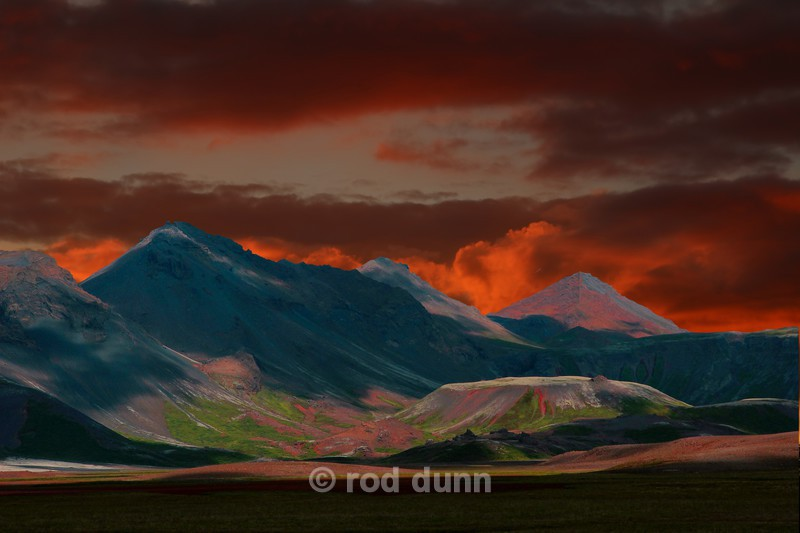 Volcanic landscape sunset - Iceland