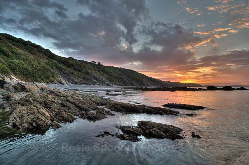 Sunrise Millendreath looking towards Bodigga Cliffs on left  2 - Looe in Cornwall