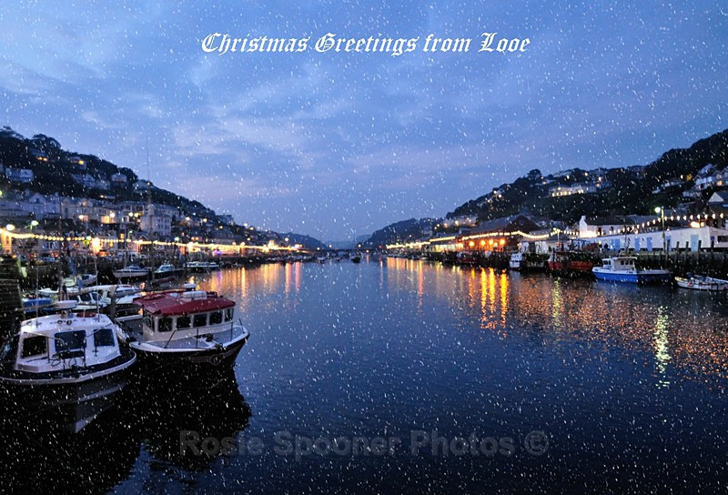 LO24 - . Greetings Card of Looe at Night - Greetings Cards Looe
